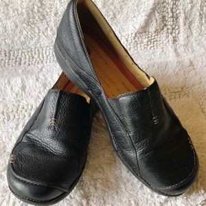 Clark's Unstructured Black Leather Loafers 10 W